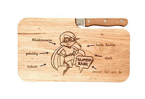 LASERHELD Brotzeitbrett Holz Erle Messer Supermama Geschenk Männer, Schneidbrett Holz, Geschenkidee für Sie