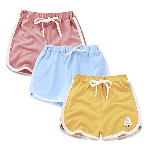 Rolanko Pantaloncini Sportivi Cotone da Bambina, Pantaloni Corti da Corsa Estivo, Abbigliamento Palestra per Ragazze per Correre E Ballare, 3 Confezioni
