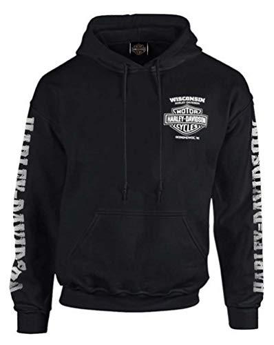 Harley-Davidson Men's Lightning Crest Pullover Hooded Sweatshirt, Black (L)