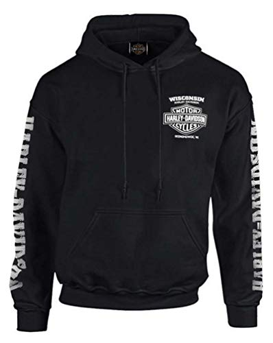 Harley-Davidson Men's Lightning Crest Pullover Hooded Sweatshirt, Black (XL)
