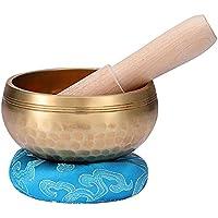 Innovahome Tibetan Singing Bowl Handmade Palm-size 3.2 Inches Tibetan Spiritual Healing Meditation Yoga Singing Brass Bowl Set