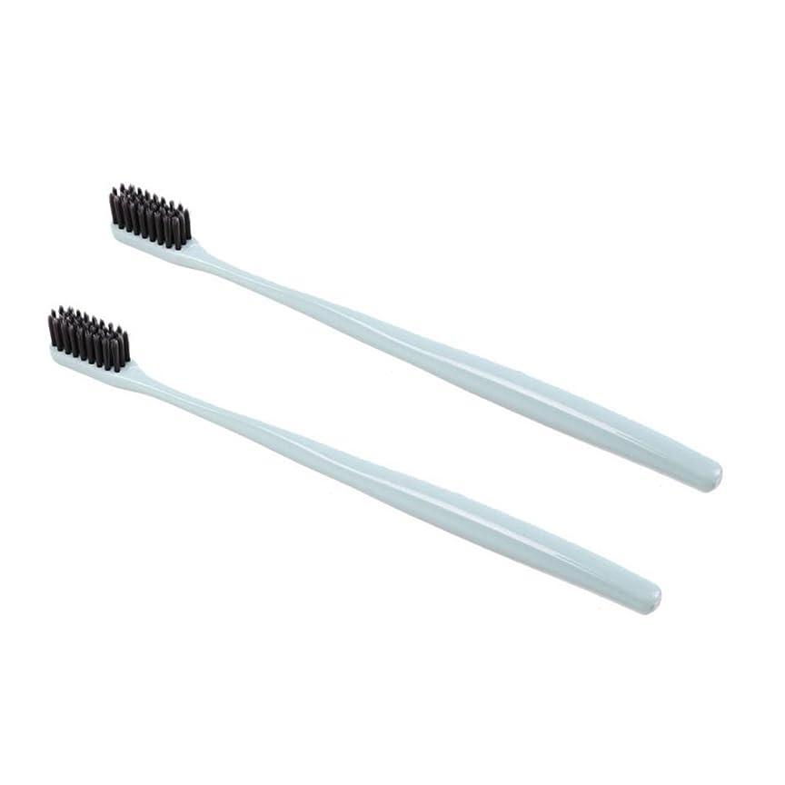腹部歯車配送TOPBATHY 子供と大人のための2本の柔らかい歯ブラシ天然竹炭歯ブラシ小さなヘッド歯ブラシ(グリーン)