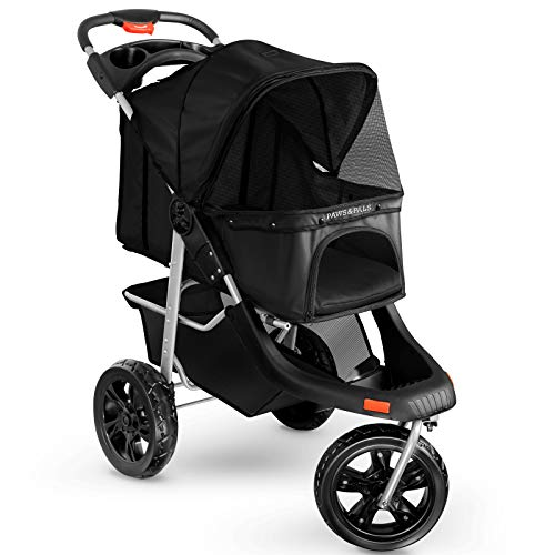 Paws & Pals Deluxe 3-Wheels Foldable Pet Stroller - Black