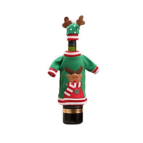 Sukisuki Kerstmis Wijnfles Cover Lelijk Gebreide Trui met Cap, Kerstmis Diner Tafeldecoraties Reindeer