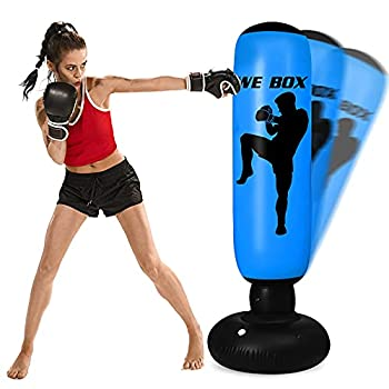 Punching Bag for Kids - 63 Inch Inflatable Kids Punching Bag with Stand   Free Standing Boxing Punching Bag Bounce Back for Kids/Youth/Adults Practice Kickboxing MMA Karate  Blue