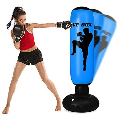 Punching Bag for Kids - 63 Inch Inflatable Kids Punching Bag with Stand | Free Standing Boxing Punching Bag Bounce Back for Kids/Youth/Adults Practice Kickboxing MMA Karate (Blue)