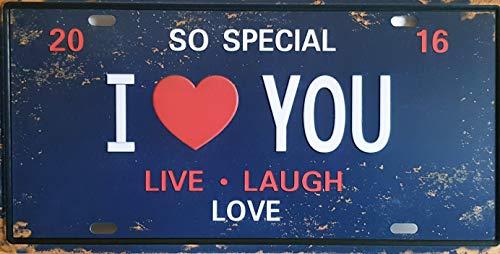 MR Placa de matrícula Vintage I Love You, Live, Laugh, Love, 30x15 cm
