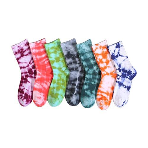 Ettzlo Bunte Batik-Baumwollsocken für Damen Weiche Crew-Socken 7 Paar Harajuku-Baumwoll-Skatesocken Batik-Basketball Atmungsaktive Skatesocken Hip-Hop-Socken Unisex-Langsocken