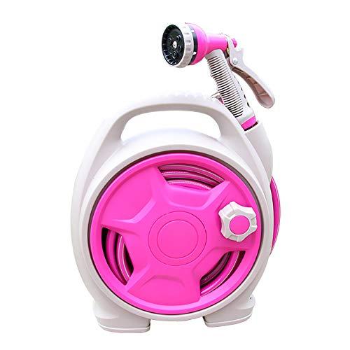 ZDYLM-Y Schlauchtrommel Mini Gartenarbeit Haushalt Leichtgewicht Wasserleitung, Geeignet für Garten, Autowäsche,Pink