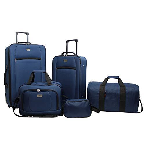 Dejuno Lightweight 5-Piece Rolling Luggage Set, Navy