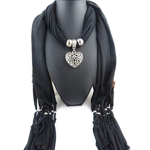Bonbolaba Mujer de Largo con Flecos Bufanda de Doble Hueco del corazón Pendiente de la Bufanda Dama borlas Bufanda Caliente