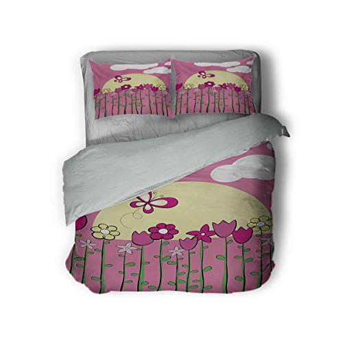 Luoiaax Tulip Hotel Luxury Bed Linen Illustration of Tall Body Spring Flower in The Field with Butterflies Sun Clouds Polyester - Soft and Breathable (King) Pink Yellow
