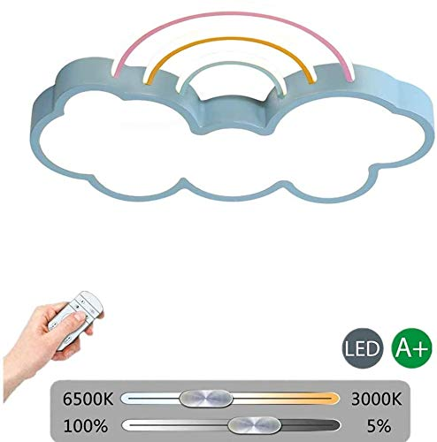 Pelight Moderne LED plafondlamp creatieve wolk regenboog slaapkamer plafondlamp dimbaar voor kinderen, slaapkamer plafondlamp voor jongens en meisjes, blauw (met afstandsbediening)