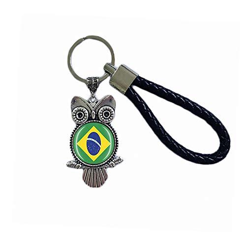 Schlüsselanhänger mit Brasilien-Flagge, Eulenform, Glas, Kristall, Souvenir, Dekoration, für Männer und Frauen, Anhänger, Zubehör, Geschenk