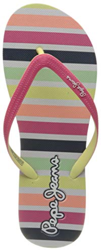 Pepe Jeans London Mädchen Dorset Beach Stripes Zehentrenner, Pink (Bright Pink 338), 37 EU