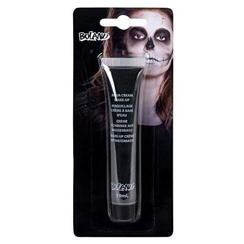 Boland 45171 - Aqua Crème Make-Up Schwarz, Inhalt 19 ml, in Tube, Schminke auf Wasserbasis, Mottoparty, Karneval, Halloween