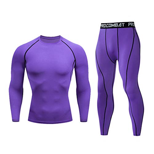 Thermal Underwear Set Sports Running Set Compression Shirt + Pants Base Layer Bottom Top for Men (XL, Purple)