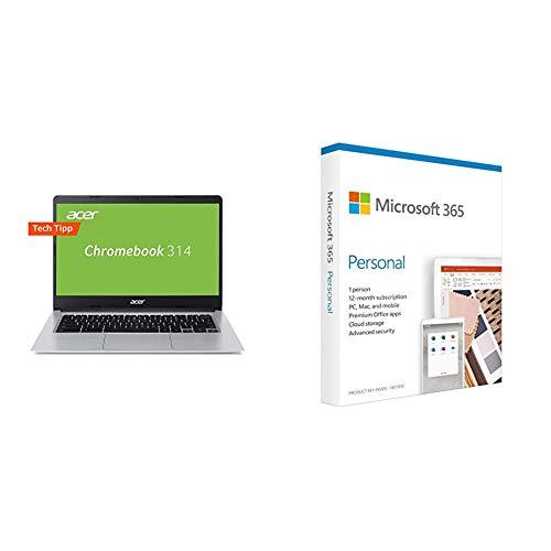 Acer Chromebook 314 Notebook (14 Zoll HD matt, 19,7mm flach und Ultra leicht, extrem Lange Akkulaufzeit, schnelles WLAN, MicroSD Slot, Google Chrome OS) Silber + Microsoft 365 Personal | Box