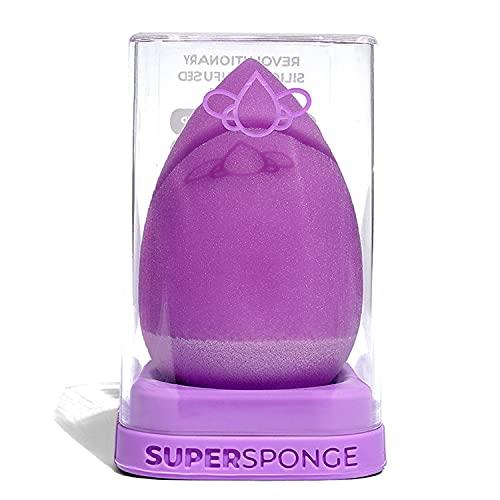 SUPER SPONGE Original Anti Absorbent Makeup Sponge With Scrubber & Stand (Violet)