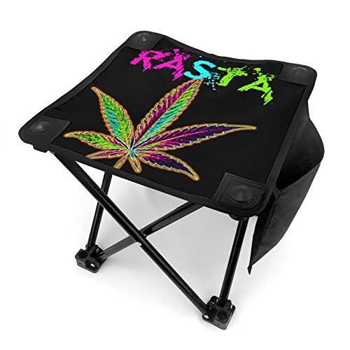 WGYWE Rasta - Taburete portátil plegable con hojas de marihuana y de marihuana