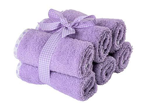 Asciugamani neonato bagnetto - Salvietta asciugamano per neonati e bambini per bagnetto, bavaglino - peso spugna GSM 500 (30x30cm 6 pezzi, Lilla c/bordo a pois)