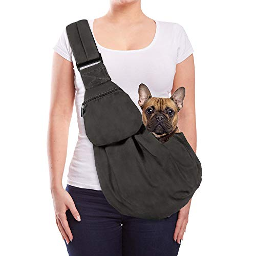 AUTOWT Dog Padded Papoose Sling, Small Pet Sling Carrier Hands Free Carry Adjustable Shoulder Strap Reversible Outdoor Tote Bag with a Pocket Safety Belt Dog Cat Carrying Traveling Subway (Grey)