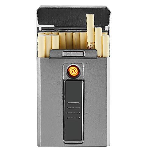 BNMY Zigarettenetui Mit Feuerzeug, Zigarettenbox, Für 20 Stück Normale Zigaretten, Tragbar, King-Size-Zigaretten, USB-Feuerzeug, Wiederaufladbar, Flammenlos, Winddicht, Elektrisches Feuerzeug,Grau