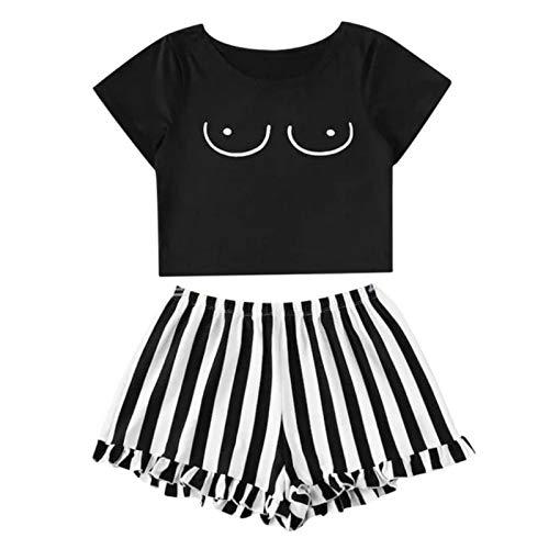Damen-Pyjama-Set, Cartoon-Design, Rundhalsausschnitt, Pullover, kurze Ärmel, Mantel, Shorts, 2-teiliges Set
