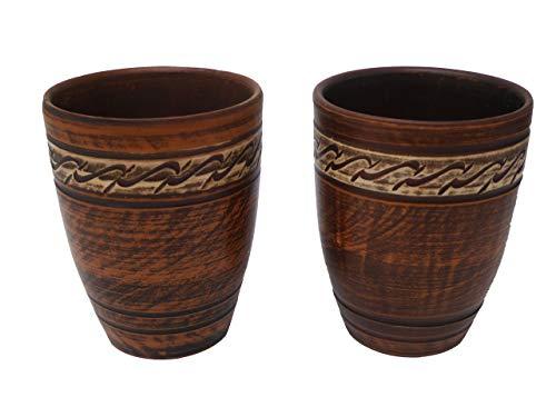 Juego de 2 tazas de terracota con dibujo – 300 ml – Hecho a mano – Ucrania