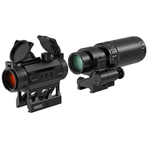 Feyachi V30 2MOA Red Dot Sight with M37 1.5X - 5X Magnifier Combo, Absolute Co-Witness