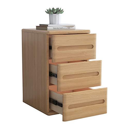 WSJQWHW Todos los gabinetes de la cabeza de la cama de almacenamiento de madera maciza mini casilleros nórdicos con cerraduras simples tres cajones cama superior mesa dormitorio muebles