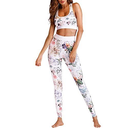 Chándal Conjunto de Mujer Estampado Floral Deportivo Crop Top y Pantalones Elásticos para Gimnasio Pilates Yoga Fitness Entrenamiento Chándal Completa para Mujer (Blanco, M)