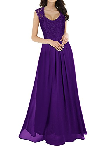 MIUSOL Damen Ärmellos V-Ausschnitt Spitzenkleid Brautjungfer Cocktailkleid Chiffon Faltenrock Langes Kleid Lila M