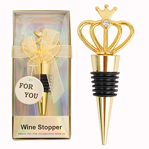 18Pcs Creative Golden Crown Wine Stoppers for Wedding,bridal Shower Birthday Anniversary Party Gifts Baby Shower Souvenirs Decorations for Guests with Individual Package (Gold crown)
