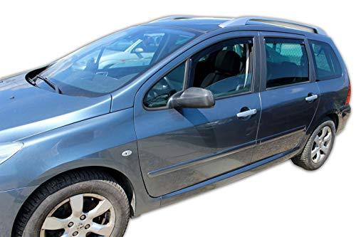 J&J Automotive - Deflectores de viento para Peugeot 307 2001-2007, 5 puertas, 4 unidades