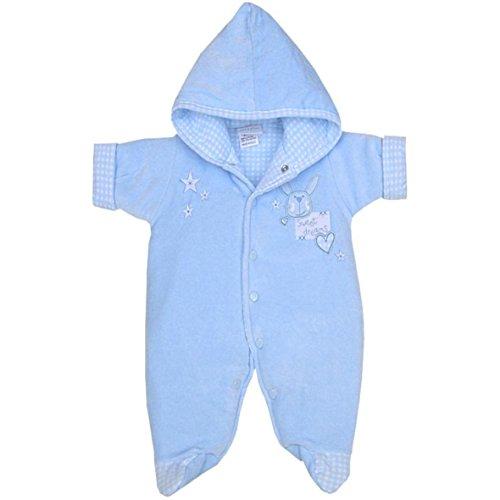 BabyPrem Babyprem Babykleidung Schneeanzug Winteranzug Wagenanzug Nicki-Plüsch mit Kapuze 38-50cm BLAU P2