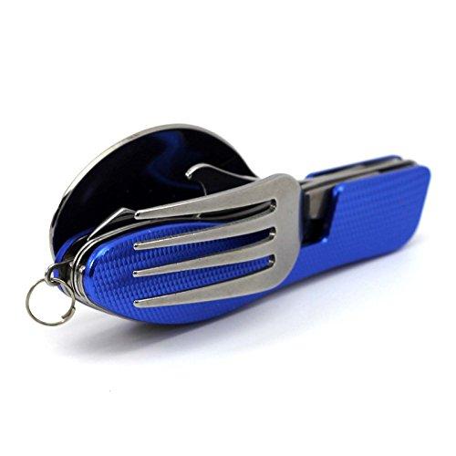 MMRM 3 en 1 Pratique Camping Pique-nique Voyager Pliant Cuillère Fourchette Couteau Outil Multi-fonction Bleu