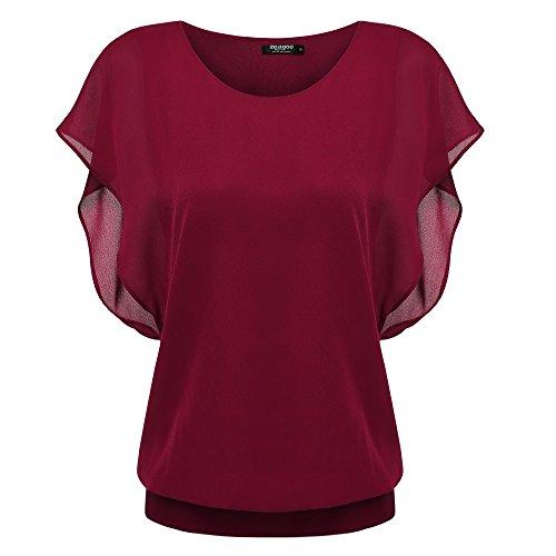 Zeagoo Damen Sommer Casual Loose Fit Kurzarm Fledermaus Batwing T-Shirt Shirt Chiffon Top Bluse, EU 40(Herstellergröße:L), Weinrot