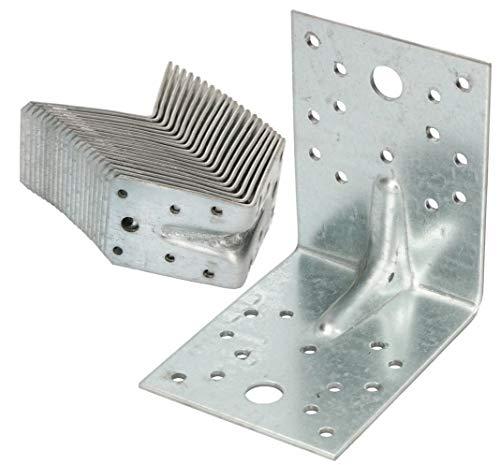 KOTARBAU® Winkelverbinder 100x100x80mm mit Rippe Sicke Lochwinkel Bauwinkel Holzverbinder Balkenwinkel Verbinder Top - Qualität Winkel Silber 25 Stk.