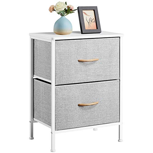 Yaheetech Chest of Drawers, Small Vertical Dresser with 2 Gray Fabric Drawers and Metal Frame, Cloth Organizer Unit Narrow Bedside Table and Cabinets for Living Room, Bedroom, Dorm Room, Hallway