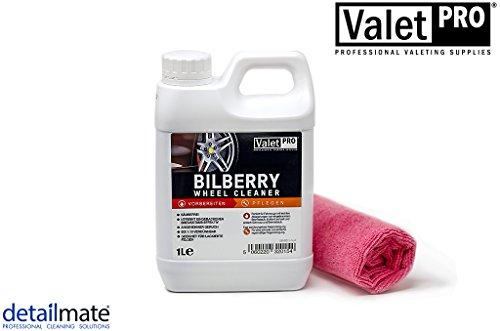 detailmate ValetPro Bilberry Wheel Cleaner 1 Liter Kanister - Felgenreiniger Konzentrat Mikrofasertuch 40x40cm