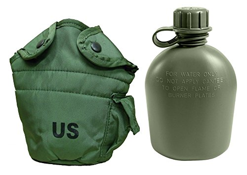 Military Outdoor Clothing Never Issued U.S. G.I. 1 Quart Canteen with Nylon Cover, Olive Drab