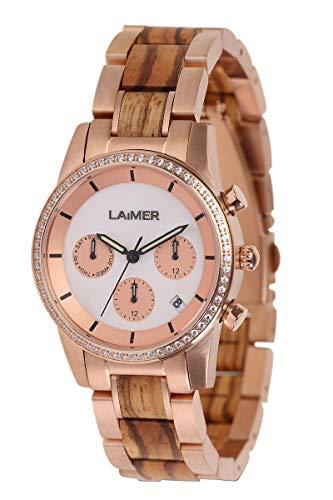 LAiMER orologio in legno di zebrano -KORA- orologio da polso quarzo Donna - datario e giorno, dualtime, indice di cristalli, indicatore 24 ore, quadrante di madreperla, 36mm - Imballaggio in legno