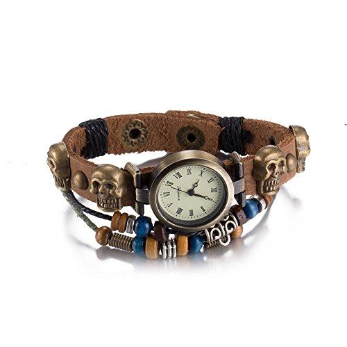 iLove EU Herren Damen Armbanduhr Gotik Totenkopf Schädel Leder Echtleder Armband Armreif Holzperlen Analog Quarz Uhr mit Römische Ziffern Zifferblatt Braun