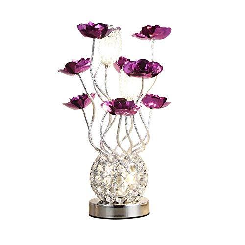 Lámparas de escritorio Lámpara de mesa artística de aluminio, dormitorio nórdico, minimalista, lámpara de noche decorativa salón flor lámpara de escritorio flor púrpura Lámparas de mesa y mesilla de n