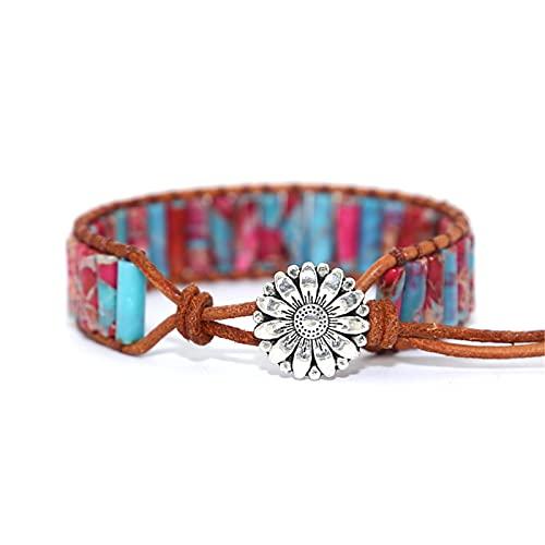 EliteMill Pulseras de chacras de colores, hechas a mano, coloridas cuentas de chakra, de cuero, para regalo de joyería creativa, estilo étnico, tejido a mano, para mujeres y niñas