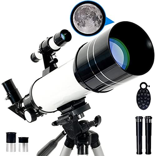 RUNPRISM Telescopio Astronómico 400/70 mm, Telescopio Refractor Portátil con Trípode Ajustable y Visor, para Principiantes, Niños, Adultos (Blanco)