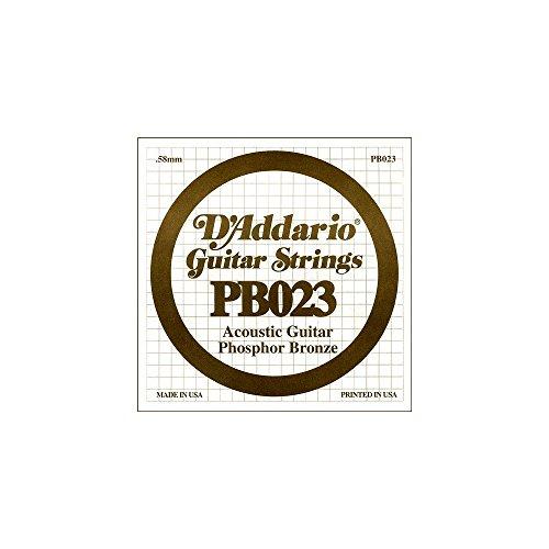 D'Addario PB023 - Cuerda individual para guitarra acústica, entorchada en bronce fosforado.023, naranja