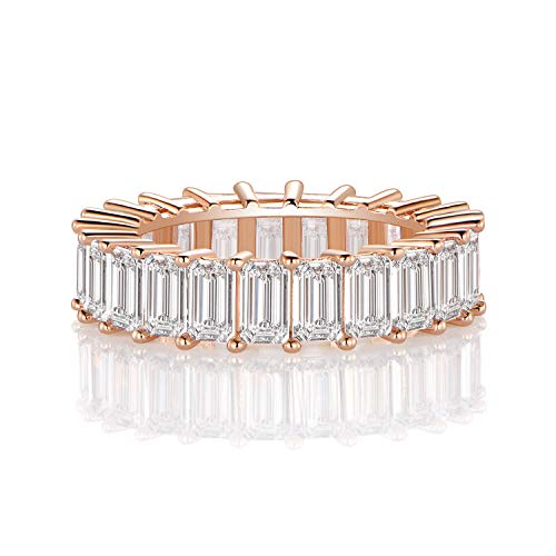 Rose Gold Plated Cubic Zirconia Ring Wedding Band for Women Men (7)