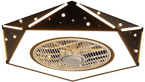 Luz de techo con control remoto de ventilador LED 3 (Color : Black)